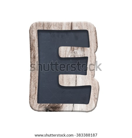Alphabet made from chalkboard.alphabet wood. complete English alphabet - collage of 26 isolated vintage wood letterpress printing blocks, scratched and stained by ink patina - stock photo