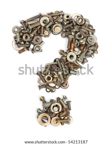 alphabet made of bolts - question mark - stock photo