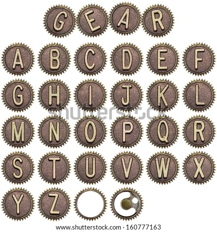 Alphabet made of cogwheels, gear letters. - stock photo