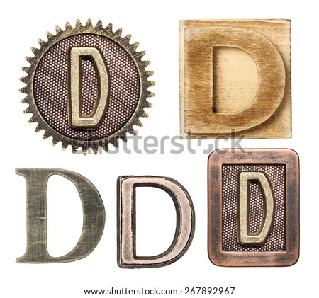 Alphabet made of wood and metal. Letter D - stock photo