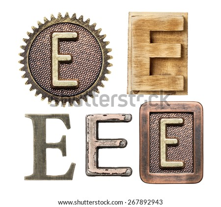 Alphabet made of wood and metal. Letter E - stock photo