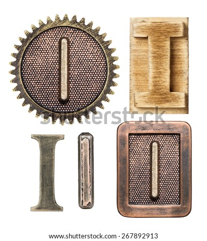 Alphabet made of wood and metal. Letter I - stock photo
