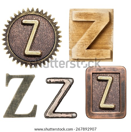 Alphabet made of wood and metal. Letter Z - stock photo