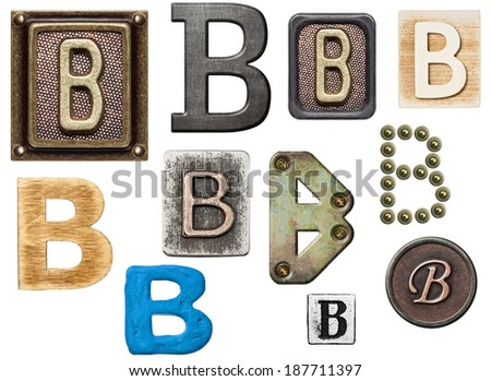 Alphabet made of wood, metal, plasticine. Letter B - stock photo