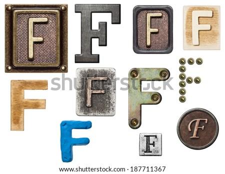 Alphabet made of wood, metal, plasticine. Letter F - stock photo