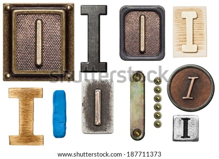Alphabet made of wood, metal, plasticine. Letter I - stock photo