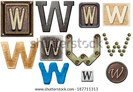 Alphabet made of wood, metal, plasticine. Letter W - stock photo