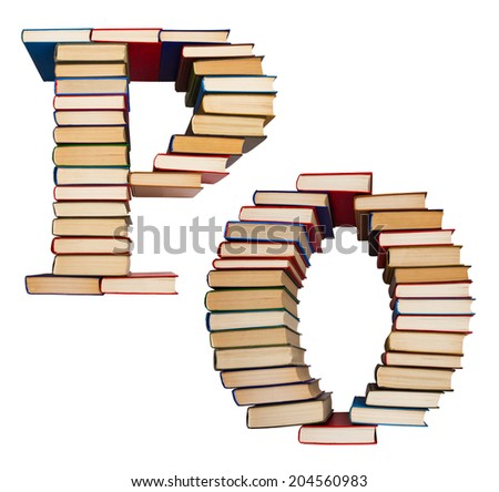 Alphabet made out of old books, letters P and O - stock photo