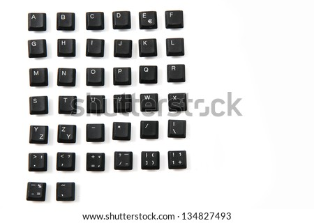 alphabet, numbers,  keyboard keys combined in a single image - stock photo