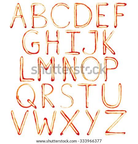 Alphabet of ketchup isolated on white background. Set - stock photo