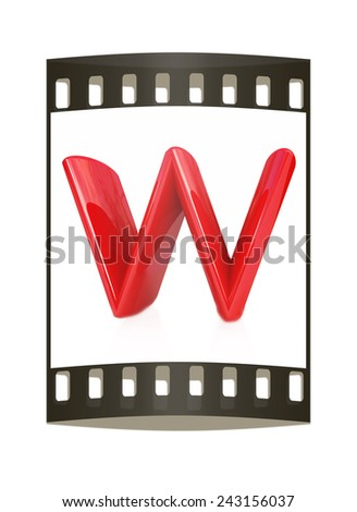 "Alphabet on white background. Letter ""W"" on a white background. The film strip - stock photo"