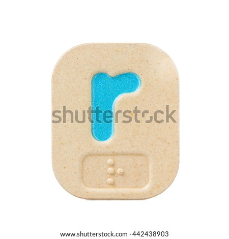 alphabet r on white background  with Braille. - stock photo