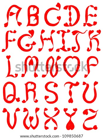 alphabet red heart letters on white background - stock photo