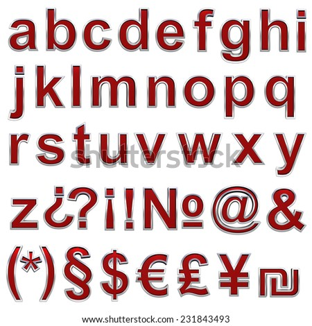 Alphabet set from ruby with chrome frame lowercase letter. - stock photo