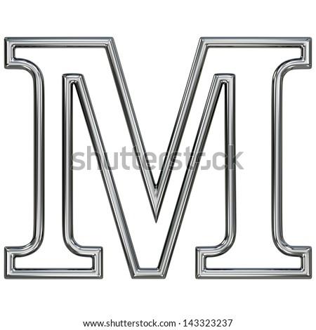 alphabet symbol M with chrome pipe outline - stock photo