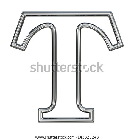 alphabet symbol T with chrome pipe outline - stock photo