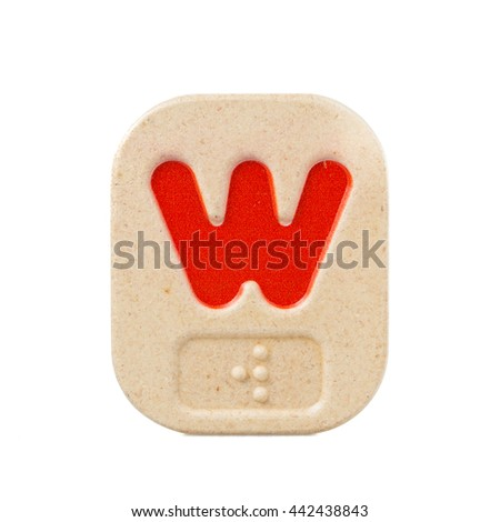 alphabet w on white background  with Braille. - stock photo
