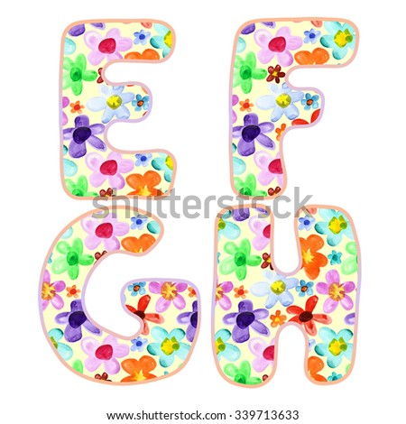 Alphabet with colorful watercolor flower pattern. Letters E, F, G, H - stock photo