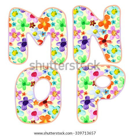 Alphabet with colorful watercolor flower pattern. Letters M, N, O, P - stock photo