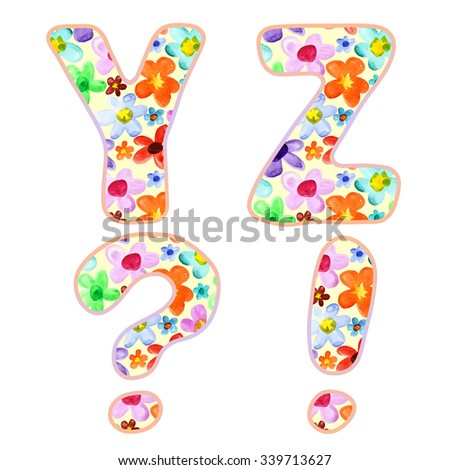 Alphabet with colorful watercolor flower pattern. Letters Y, Z and marks - stock photo
