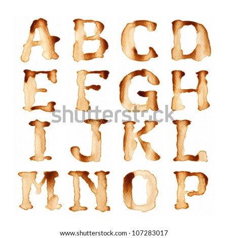 Alphabet write by coffee antique style - stock photo
