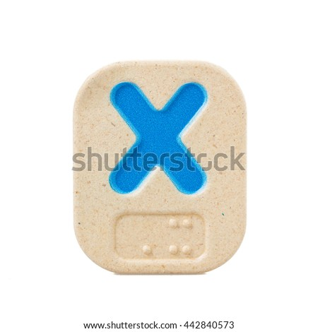 alphabet X on white background with Braille. - stock photo