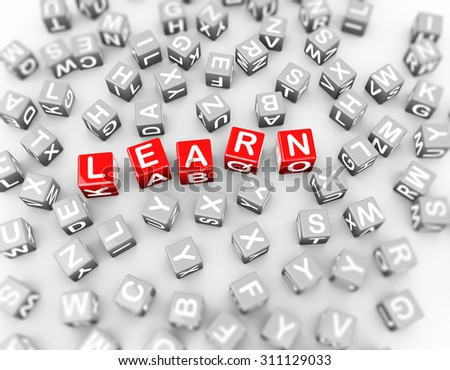 Alphabets blocks cubes of word text learn.  3d rendering of educational message - stock photo