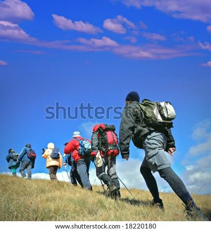 Alpine expedition going towards peak Korab, Macedonia - stock photo