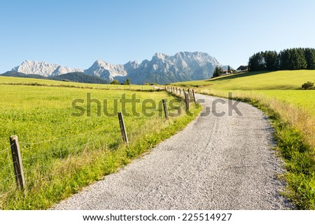Alpine hiking path in the Karwendel Mountains - stock photo