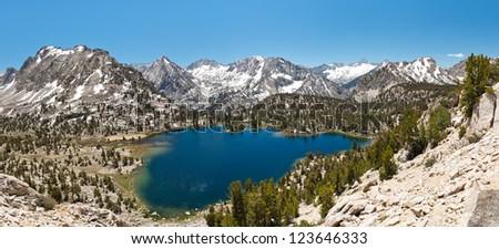Alpine Lake Panorama, Sierra Nevada Mountains, California, USA - stock photo