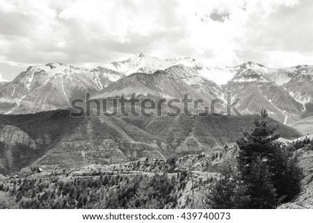 Alpine landscape in Provence-Alpes-Cote d'Azur region of France. Black and white photo. - stock photo