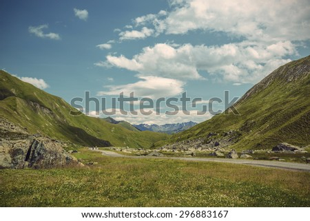 alpine landscape in summer, Alps of South Tyrol (Suedtirol), Austria, Europe, Vintage filtered style  - stock photo