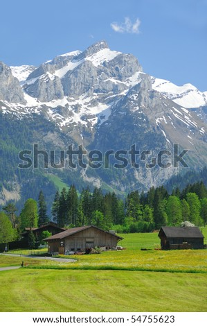 Alpine meadows and farms at the exclusive swiss alpine resort of Gstaad with a backdrop of mountains and glaciers - stock photo