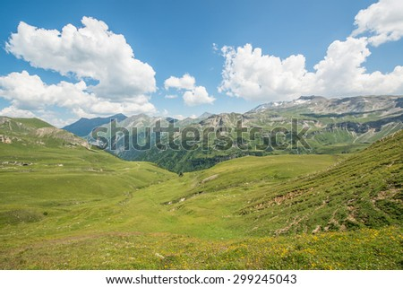 Alpine meadows, high mountain roads and beautiful landscape of the Grossglockner mountain in Austria - stock photo