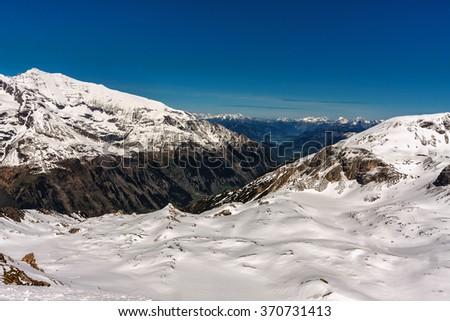 Alpine mountain landscape, snow scene. Austria. - stock photo