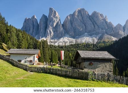 Alpine pasture with Geisler mountains, Val di Funes, South Tyrol, Italy - stock photo