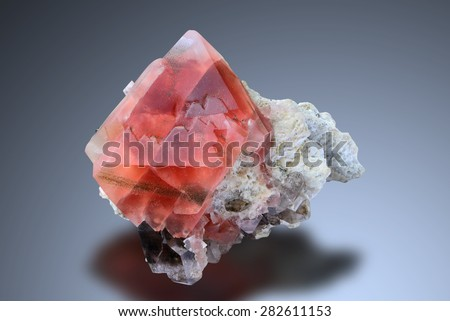 Alpine red fluorite from Chamonix, France.  - stock photo