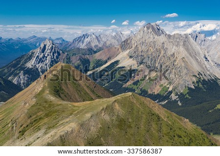 Alpine Ridge With Rugged Mountains in the Rocky Mountains Kananaskis Alberta Canada - stock photo