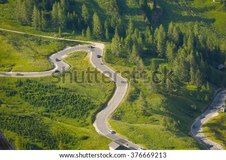 Alpine Road Pass - stock photo