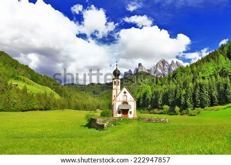 Alpine scenery - Dolomites, Val di funes, view with church - stock photo