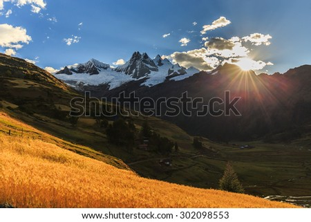 Alpine scenery in Cordiliera Blanca, Andes - stock photo