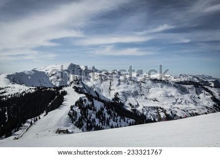 Alpine ski slope - stock photo