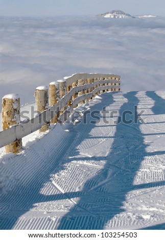 alpine skiing track, France - stock photo