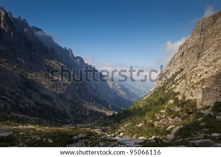 Alpine view of mountain tops in Restonica Valley , Corsica, France - stock photo