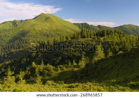 Alpine views. Summer landscape in the mountains - stock photo