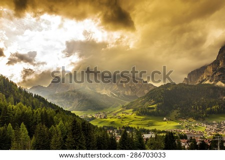 Alpine village in Corvara, Dolomites, Italy  - stock photo