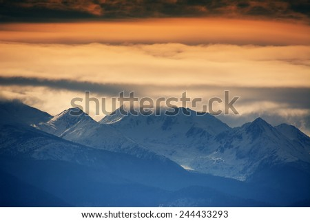 Alpine winter landscape in Retezat Mountains, Romania, Europe - stock photo