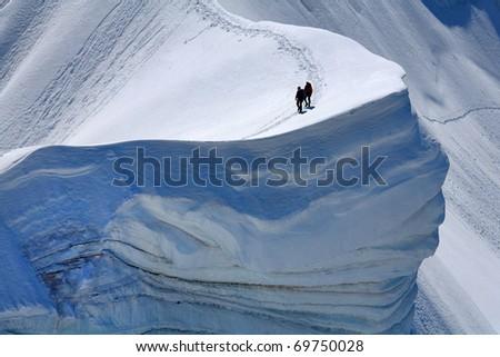 Alpinists on Rochefort Ridge, France - stock photo
