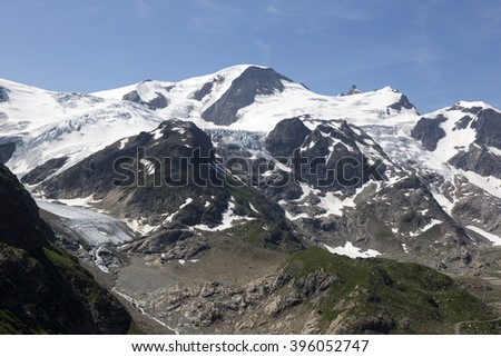 Alps in Switzerland with Glacier near Susten - stock photo