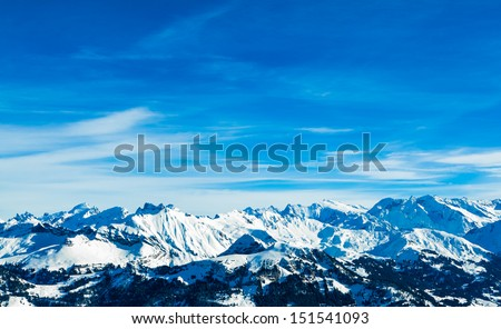 Alps mountain landscape. Winter landscape - stock photo